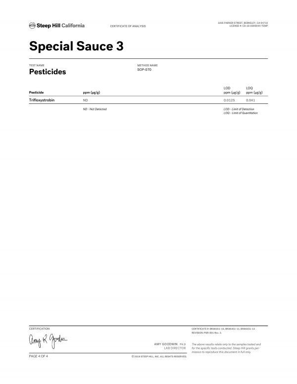 Special Sauce CBD Flower Pesticides page 4