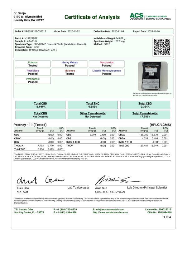 Dr.Ganja Hawaiian Haze Cannabinoids Certificate of Analysis