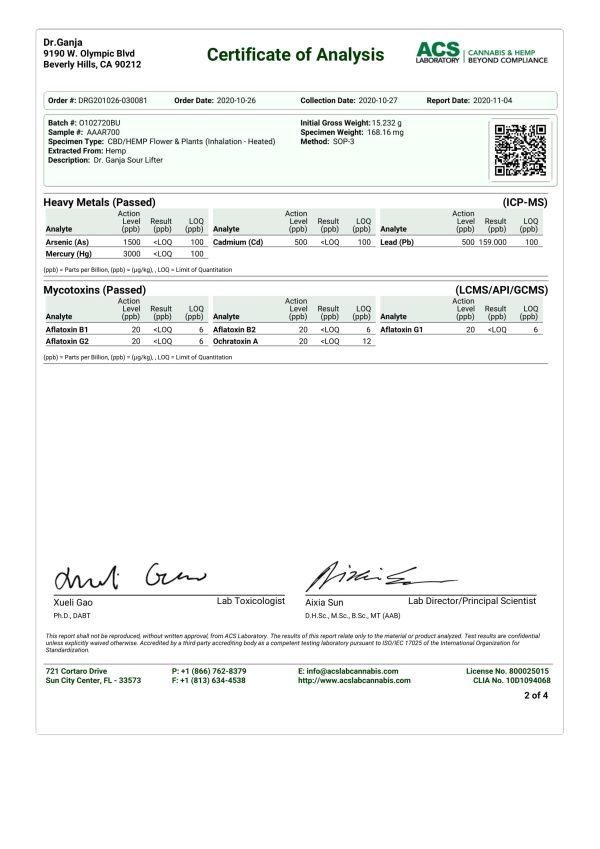 Dr.Ganja Sour Lifter Series II Heavy Metals & Mycotoxins Certificate of Analysis