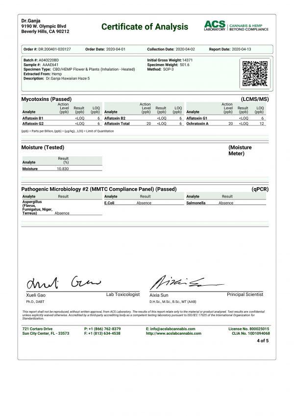 DrGanja Hawaiian Haze Microbials & Mycotoxins Certificate of Analysis