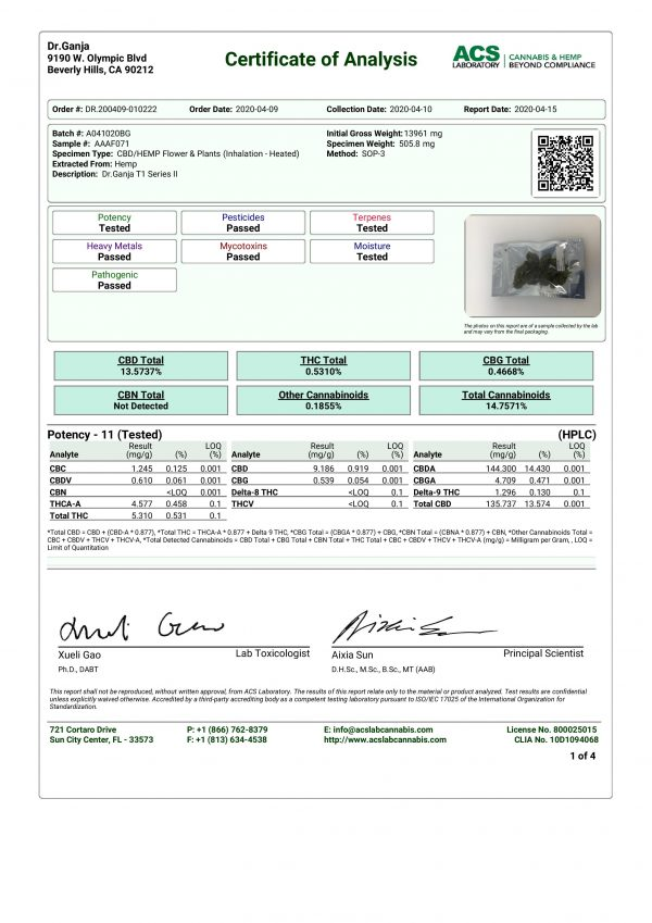 DrGanja T1 Series II Cannabinoids Certificate of Analysis