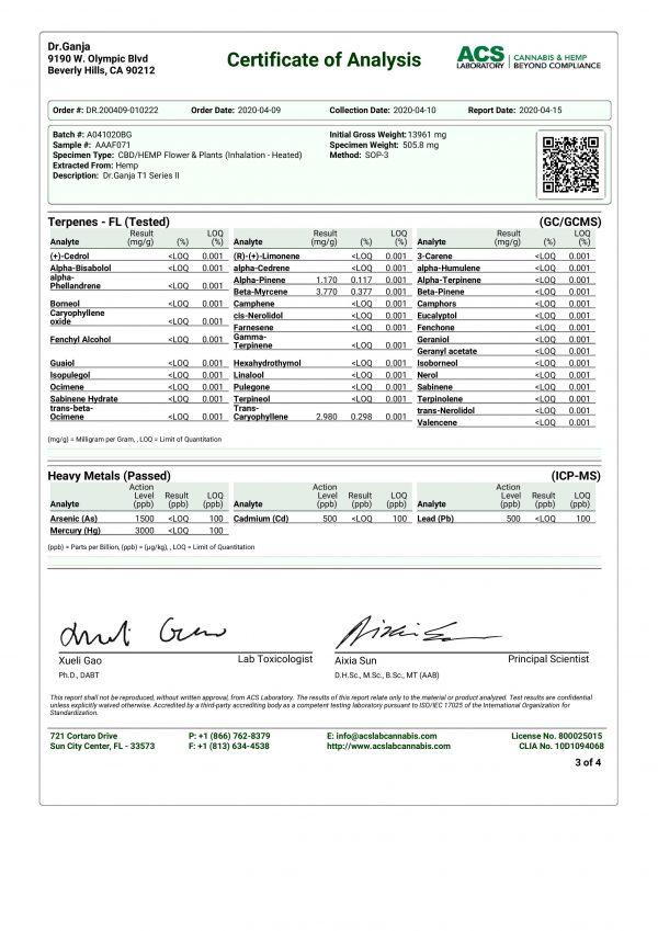 DrGanja T1 Series II Heavy Metals & Terpenes Certificate of Analysis