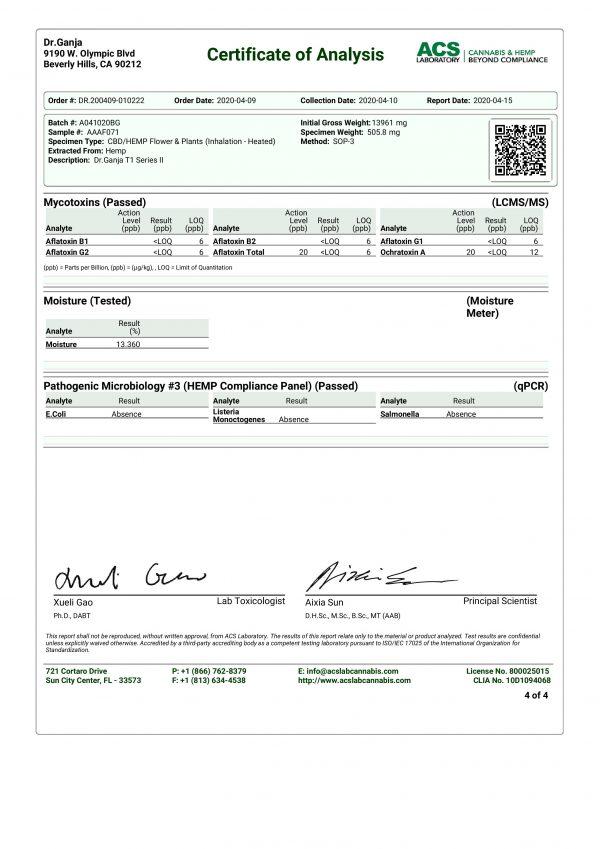 DrGanja T1 Series II Microbials & Mycotoxins Certificate of Analysis