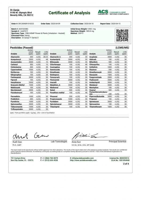DrGanja T1 Series II Pesticides Certificate of Analysis