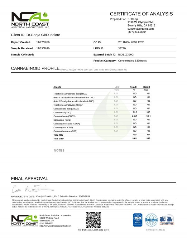 Dr.Ganja CBD Isolate Cannabinoids Certificate of Analysis 2