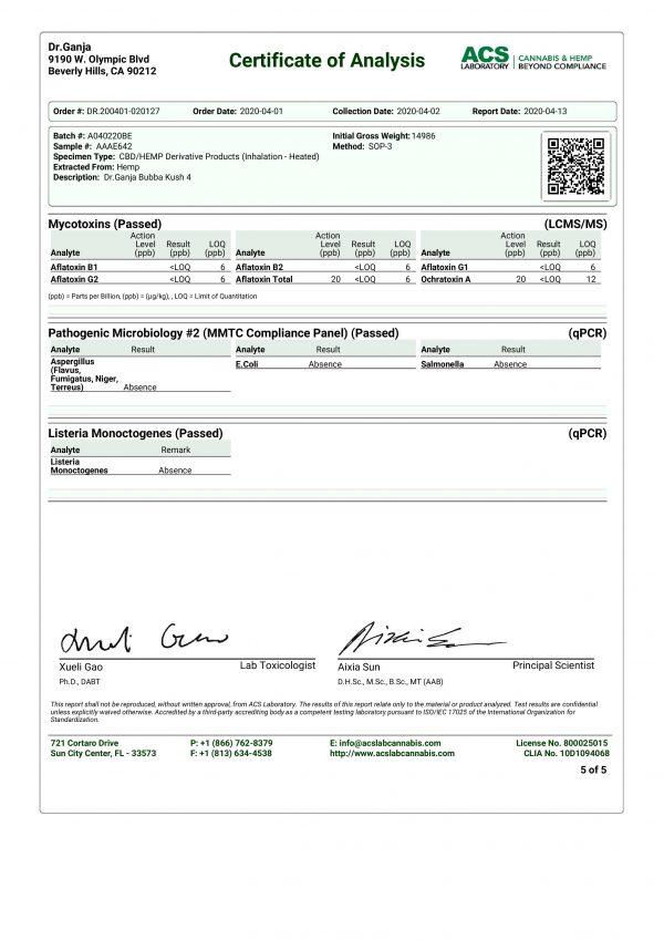 DrGanja Bubba Kush Microbials & Mycotoxins Certificate of Analysis