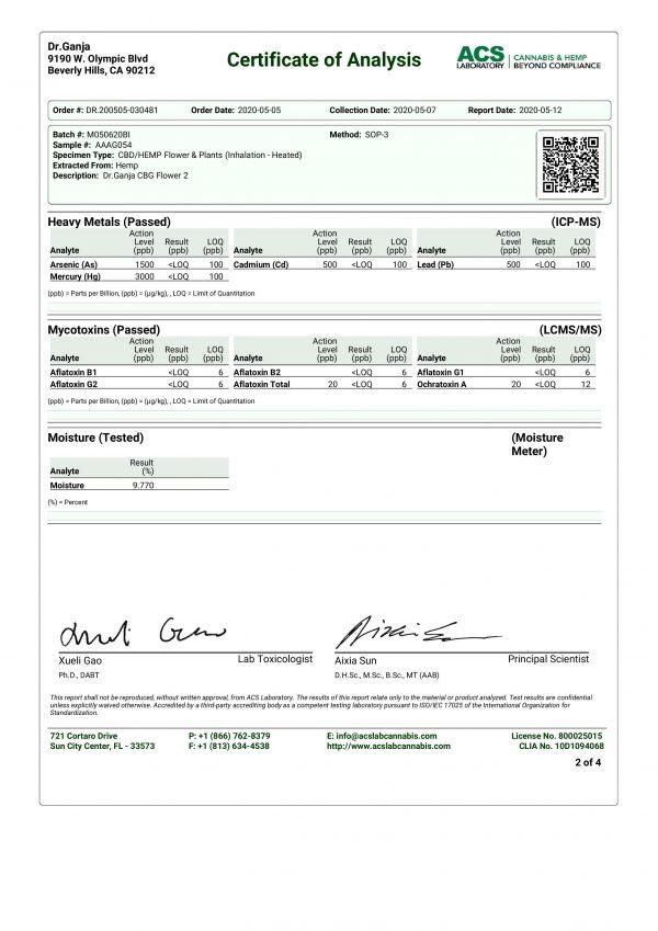 DrGanja CBG Flower Heavy Metals & Mycotoxins Certificate of Analysis