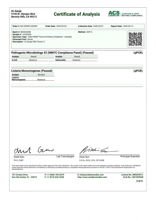 DrGanja CBG Flower Microbials & Listeria Monoctogenes Certificate of Analysis