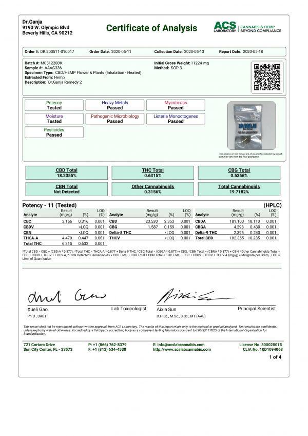 DrGanja Remedy CBD Flower Cannabinoids Certificate of Analysis