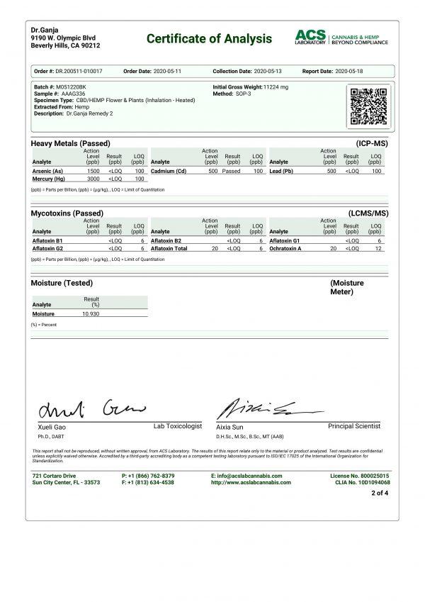 DrGanja Remedy CBD Flower Heavy Metals and Mycotoxins Certificate of Analysis