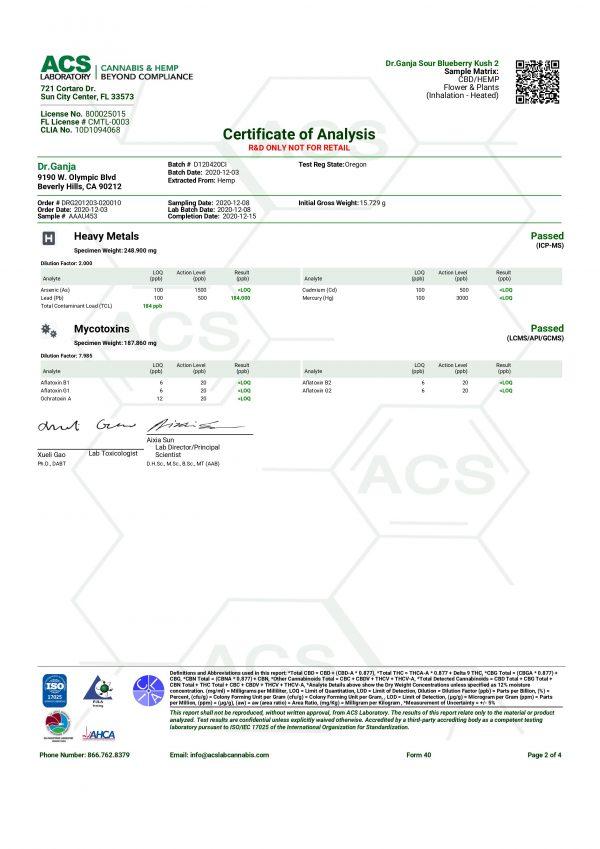 Dr.Ganja Sour Blueberry Kush Heavy Metals & Mycotoxins Certificate of Analysis