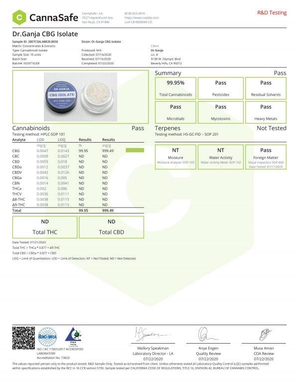 DrGanja CBG Isolate Cannabinoids Certificate of Analysis
