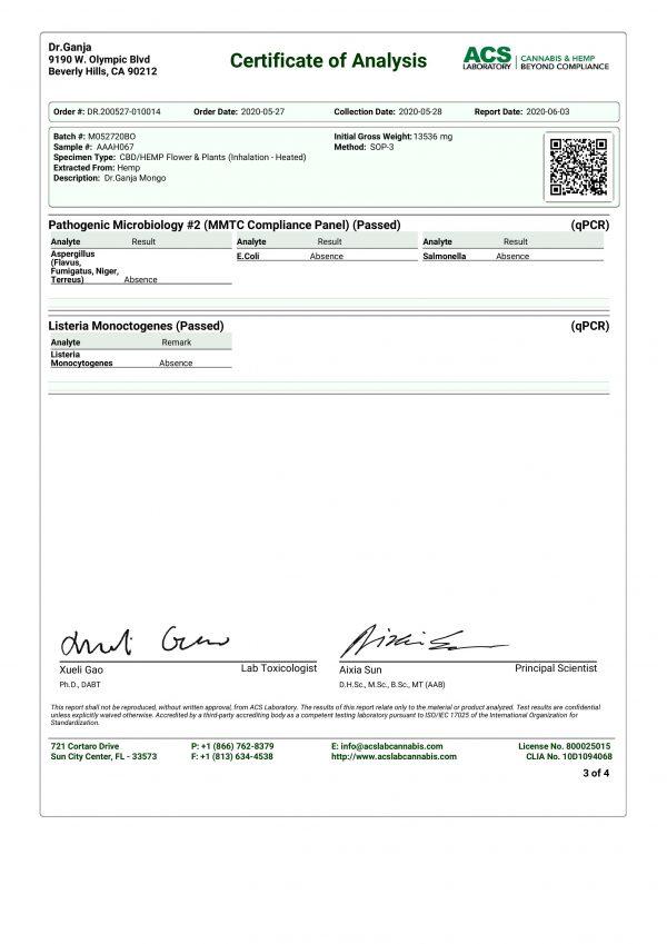 DrGanja Mongo Microbials Certificate of Analysis