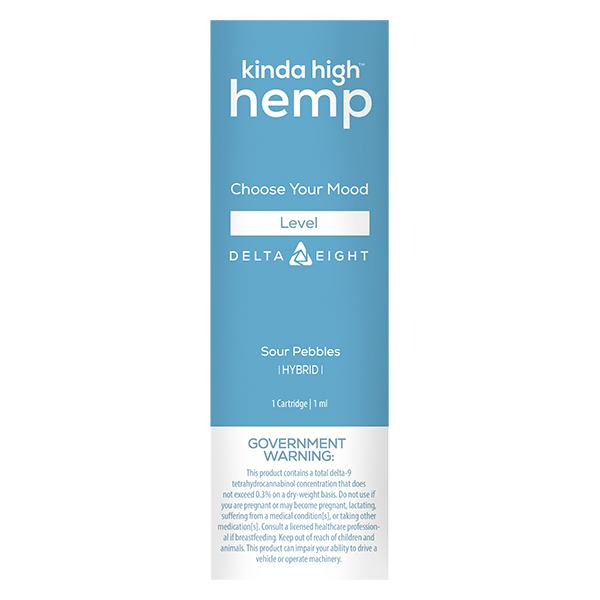 Kinda High Hemp Delta 8 Vape Cartridge Strawberry Sour Pebbles