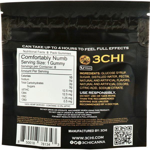 3Chi Comfortably Numb Delta 8 & CBN Gummies 200mg 8ct