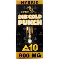 Hemp Living Delta 8 & Delta 10 Vape Cartridge 24K Gold Punch 1g