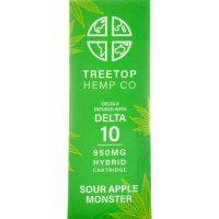 Tree Top Hemp Co Delta 8 & Delta 10 Vape Cartridge Sour Apple Monster 1g